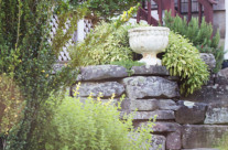 Stone wall with vase