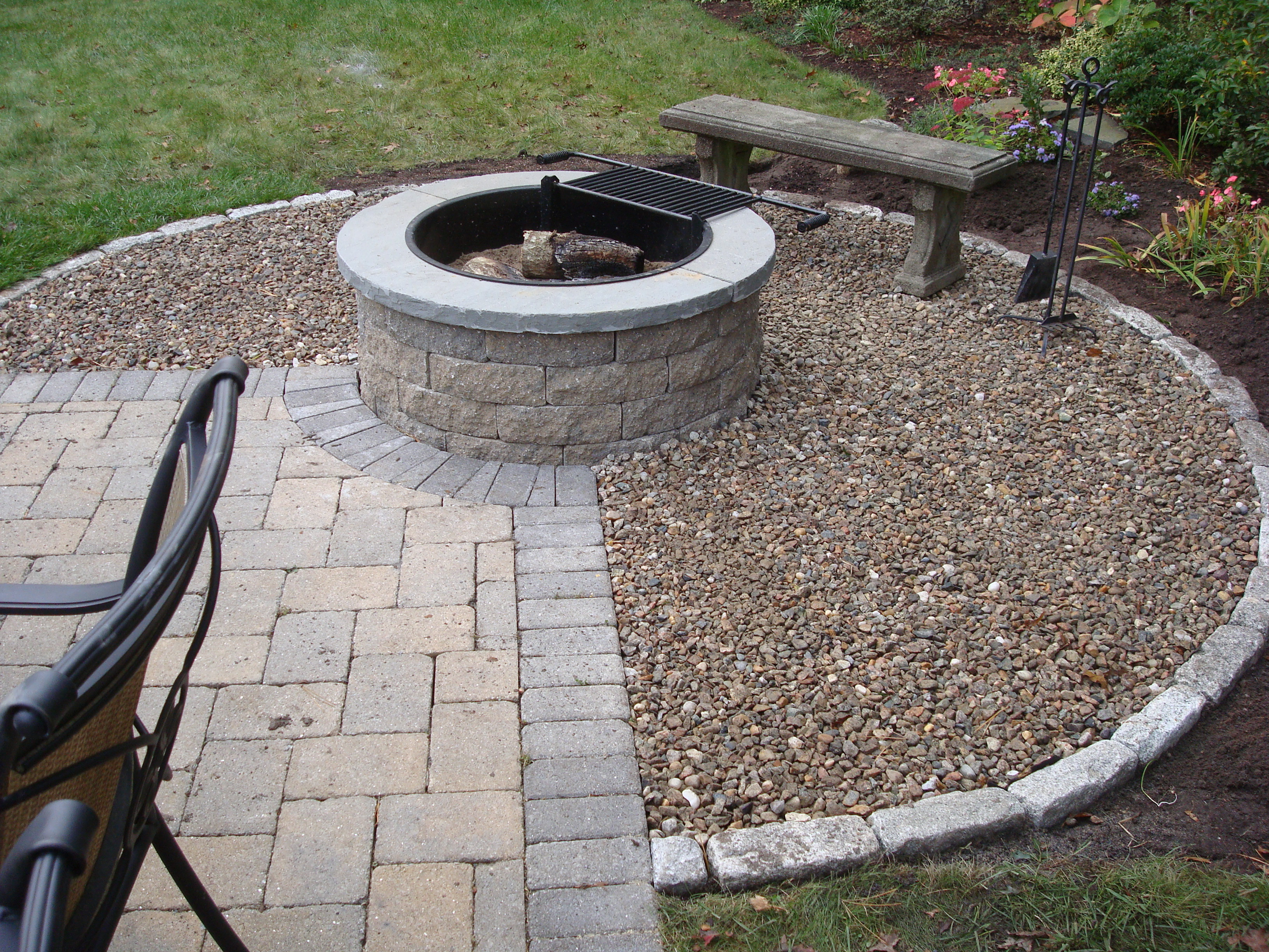 Gas Fire Pit With Outdoor Kitchen Beyond Mike Stacy